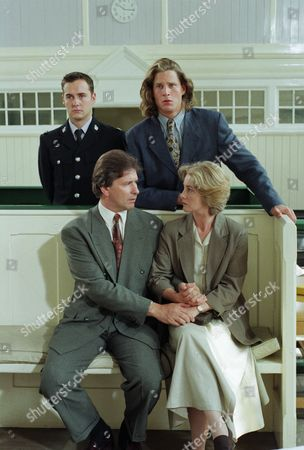 Luke appears in court and is charged with manslaughter and remanded in custody - With Luke McAllister, as played by Noah Huntley ; Bernard McAllister, as played by Brendan Price, and Angharad McAllister, as played by Amanda Wenban (Ep 1895 - 16th August 1994).