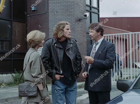 Luke is found innocent of manslaughter and is released - With Luke McAllister, as played by Noah Huntley ; Bernard McAllister, as played by Brendan Price, and Angharad McAllister, as played by Amanda Wenban (Ep 1900 - 1st September 1994).