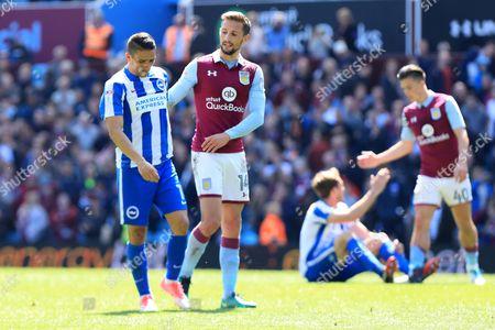 Rudy Gestede of Aston Villa consoles a dejected Steve Sidwell of Brighton & Hove Albion - Aston Villa v Brighton and Hove Albion, Sky Bet Championship, Villa Park, Birmingham - 7th May 2017.