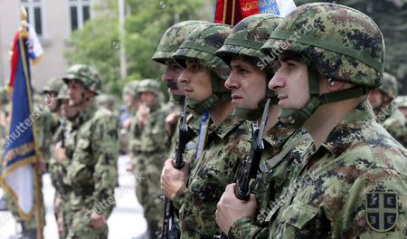 Members of the Serbian Army attend the celebrations on the occasion of the 'Day of Serbian Army Guard' in Belgrade 'Dedinje' barracks, in Belgrade, Serbia, 05 May 2017. During the ceremony the President of the Republic of Serbia, Tomislav Nikolic (unseen),  handed over awards and medals to units and institutions of the Serbian Army on the occasion of the 10th anniversary of their formation.