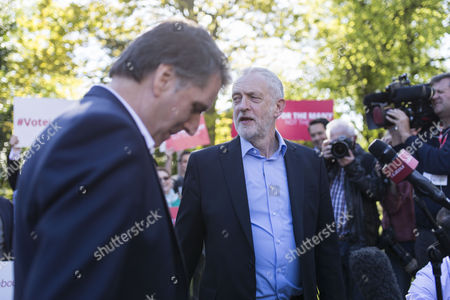 Jeremy Corbyn, Leader of the Labour Party, joins newly elected Metro Mayor of the Liverpool City Region Steve Rotheram (left) in Liverpool at Devonshire House Hotel, Edge Lane, Liverpool.