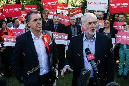 Labour leader Jeremy Corbyn with Steve Rotheram, the newly elected metro mayor of Liverpool, at an event with Labour members and the media in Liverpool following the results of the local and Mayoral elections.