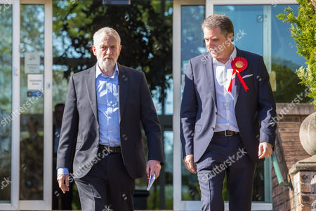 Jeremy Corbyn, Leader of the Labour Party, arrives with newly elected Metro Mayor of Liverpool Steve Rotheram, at Devonshire House Hotel