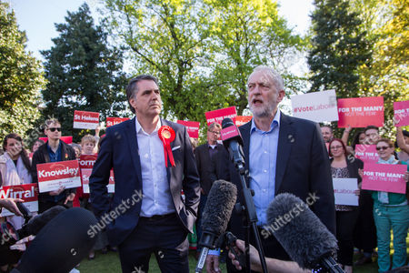 Stock Image of Jeremy Corbyn, Leader of the Labour Party, speaks alongside newly elected Metro Mayor of Liverpool Steve Rotheram, at Devonshire House Hotel