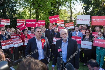 Stock Picture of Jeremy Corbyn, Leader of the Labour Party, speaks alongside newly elected Metro Mayor of Liverpool Steve Rotheram, at Devonshire House Hotel