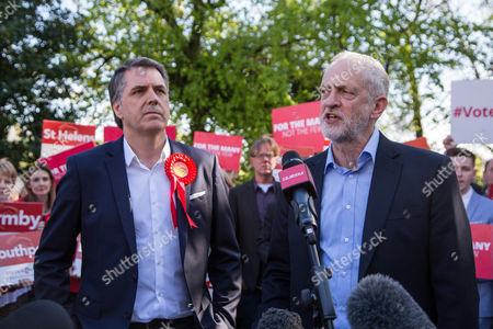 Jeremy Corbyn, Leader of the Labour Party, speaks alongside newly elected Metro Mayor of Liverpool Steve Rotheram, at Devonshire House Hotel