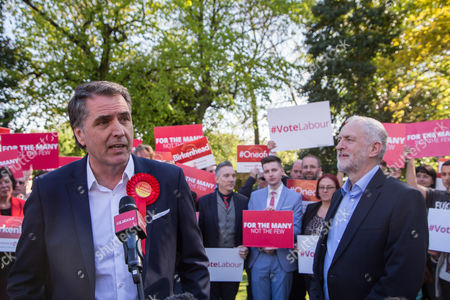 Stock Photo of Newly elected Metro Mayor of Liverpool Steve Rotheram speaks, alongside Jeremy Corbyn, Leader of the Labour Party, at Devonshire House Hotel