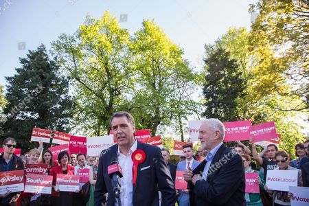 Newly elected Metro Mayor of Liverpool Steve Rotheram speaks, alongside Jeremy Corbyn, Leader of the Labour Party, at Devonshire House Hotel