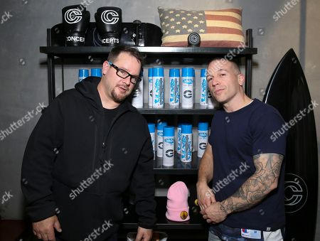 Legendary graffiti artist Stash poses with Concepts Creative Director, Deon Point at the official G-SHOCK and Stash Collaboration launch event at Concepts in New York on . The G-SHOCK and Stash Collaboration is a limited edition watch that will go on sale May 6