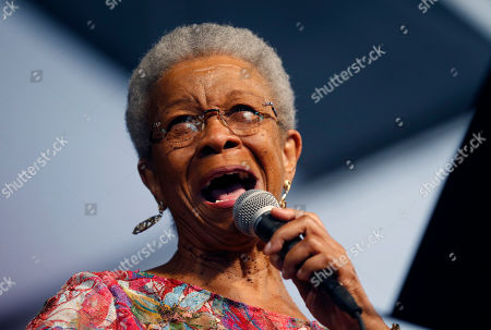 Jazz vocalist Germaine Bazzle performs at the New Orleans Jazz and Heritage Festival in New Orleans