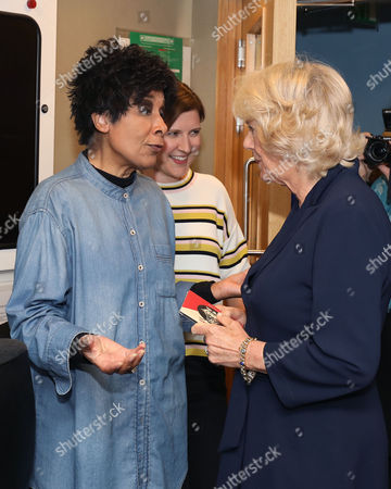 Stock Image of Camilla Duchess of Cornwall meets Moira Stuart (left) before joining the judging panel for BBC Radio 2's 500 Words creative writing competition, at their offices in London