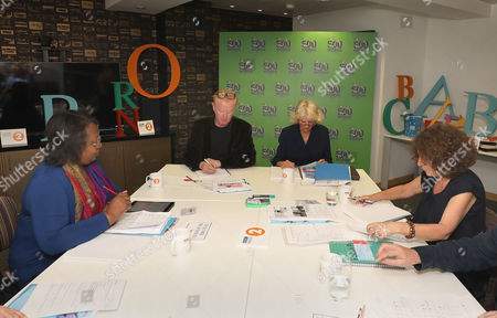 (left to right) Malorie Blackman, Chris Evans, Camilla Duchess of Cornwall and Francesca Simon judging BBC Radio 2's 500 Words creative writing competition at their offices in London