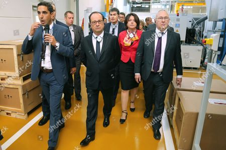 Francois Hollande, Sylvia Pinel and Michel Sapin - President Francois Hollande visiting the Liebherr-Aerospace factory