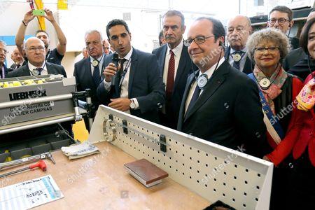 Michel Sapin, Francois Hollande, Jean-Michel Baylet - President Francois Hollande visiting the Liebherr-Aerospace factory