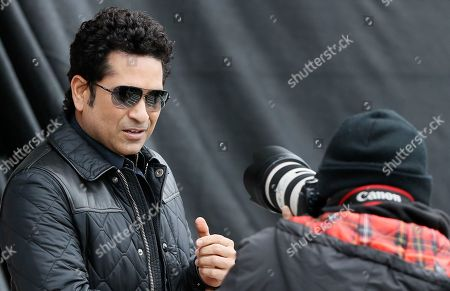 Indian former cricket player Sachin Tendulkar poses for a picture as he arrives at the Oval cricket ground whilst promoting his upcoming film, in London, . The film, Sachin: A Billion Dreams is an Indian biographical film written and directed by James Erskine and produced by Ravi Bhagchandka. The film, based on the life of Tendulkar will be released on May 26