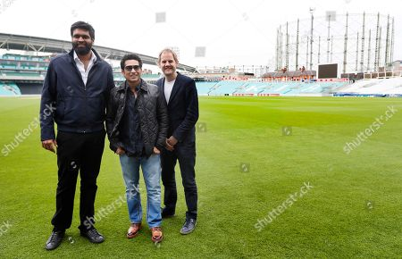 Indian former cricket player Sachin Tendulkar, centre, poses with director James Erskine, right, and producer Ravi Bhagchandka, left, at the Oval cricket ground to promote his upcoming film, in London, . The film, Sachin: A Billion Dreams is an Indian biographical film written and directed by James Erskine and produced by Ravi Bhagchandka. The film, based on the life of Tendulkar will be released on May 26