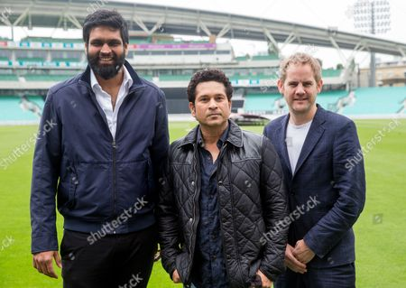 Legendary Indian cricketer, Sachin Tendulkar, at the Oval Cricket ground to promote his new film which opens on May 26th.Producer Ravi Bhagchandka (Left), Sachin Tendulkar and Filmmaker James Erskine