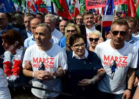 Politicians of the main Polish opposition party Civic Platform (L-R) Malgorzata Kidawa-Blonska, Grzegorz Schetyna, Ewa Kopacz and Bartosz Arlukowicz participate in the 'March of Freedom' along the streets of Warsaw, Poland, 06 May 2017. The march in defense of freedom and European values was organized by the main opposition party Civic Platform (PO).