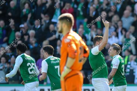 Grant Holt celebrates scoring opening goal during the Ladbrokes Scottish Championship match between Hibernian and St Mirren at Easter Road, Edinburgh