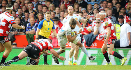 Geoff Parling of Exeter Chiefs on the break during the Aviva Premiership match between Gloucester Rugby and Exeter Chiefs at Kingsholm Stadium on May 6, 2017 in Gloucester, England.