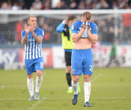Scott Harrison of Hartlepool United is dejected after being relegated from the Football League during the Sky Bet League Two match between Hartlepool United and Doncaster Rovers played at Northern Gas and Power Stadium, Hartlepool on 6th May 2017