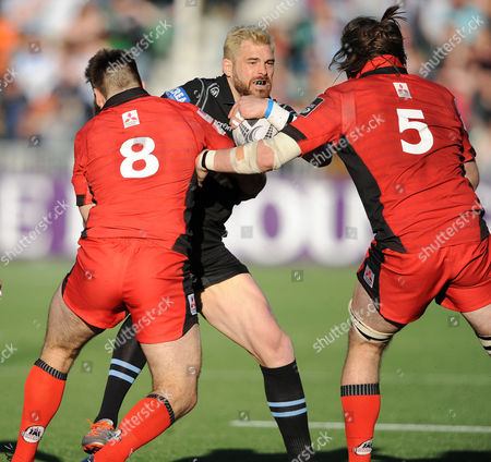 Sean Lamont - Glasgow Warriors winger is stopped in his tracks by Cornell Du Preez and Ben Toolis (5).