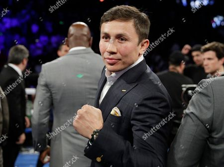 Gennady Golovkin poses in the ring after a boxing match between Canelo Alvarez, of Mexico, and Julio Cesar Chavez Jr., of Mexico, in Las Vegas