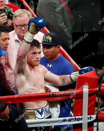 Stock Image of Canelo Alvarez, of Mexico, celebrates after defeating Julio Cesar Chavez Jr., of Mexico, during their catch weight boxing match, in Las Vegas