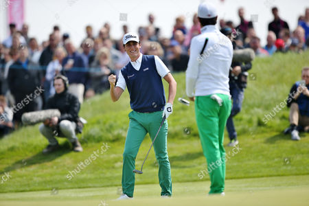 Matteo Manassero and Renato Paratore of Italy celebrate winning with England    during the GolfSixes European Tour 2017 Quarter-Finals at the Centurion Club , St Albans  on 7th May 2017