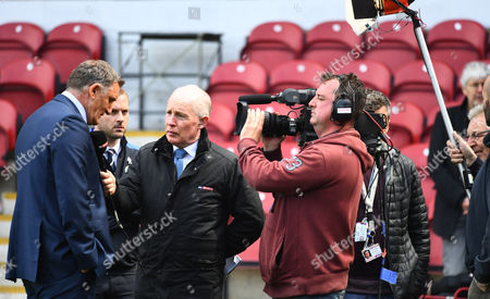 Blackburn Rovers manager Tony Mowbray is interviewed by Sky Sports David Craig after his side were relegated during the Sky Bet Championship match between Brentford and Blackburn Rovers played at Griffin Park, London on 7th May 2017