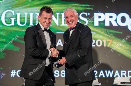 Guinness PRO12 Awards, Guinness Storehouse, Dublin 7/05/2017. Pictured at the Guinness Storehouse, Dublin at the Guinness PRO12 Awards Ed Morrison is presented by Nigel Owens