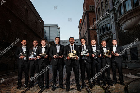 Pictured at the Guinness Storehouse, Dublin at the Guinness PRO12 Awards. Award winners John Muldoon (Connacht Rugby) Specsavers Fair Play Award, Rob Herrring accepting on behalf of Ruan Pienaar (Ulster Rugby) Independent.ie Try of the Season, Sam Davies (Ospreys Rugby) Rhino Golden Bootm, Rassie Erasmus (Munster Rugby) Guinness PRO12 Coach of the Season, Charles Piutau (Ulster Rugby) Guinness Players' Player of the Season, Young Player of the Season, Steff Evans (Scarlets) Top Try-Scorer, Nigel Owens MBE Guinness PRO12 Chairman's Award and Ken Owens (Scarlets) Dream Team Captain