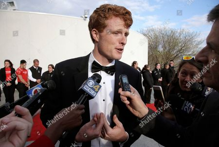 Joseph Patrick Kennedy II Rep. Joseph P. Kennedy III, D-Mass., speaks with members of the media as he arrives at the John F. Kennedy Presidential Library and Museum before the 2017 Profile in Courage award ceremonies, in Boston. Former President Barack Obama is to be presented with the award Sunday