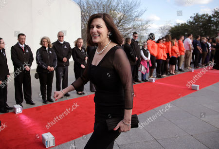 Stock Image of Victoria Reggie Kennedy, widow of Senator Edward M. Kennedy, arrives at the John F. Kennedy Presidential Library and Museum before the 2017 Profile in Courage award ceremonies, in Boston. Former President Barack Obama is to be presented with the award Sunday