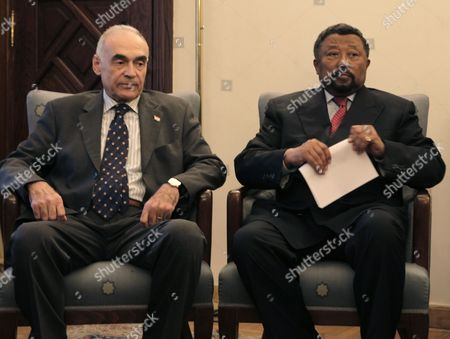 Jean Ping (r) the Chairperson of the African Union Commission and Egypt's Foreign Minister Mohammed Kamel Amr (l) Attend a Meeting at the Arab League Headquarters in Cairo Egypt 03 September 2011 According to Local Media Sources Secretary General of the Arab League Nabil Elaraby and Egypt's Foreign Minister Mohammed Kamel Amr Met on 03 September with African Union (au) Chairman Jean Ping and Organization of the Islamic Conference (oic) Representative to Discuss the Palestinian Project of Requesting the Recognition of a Palestinian State by the United Nations Later in September Egypt Cairo