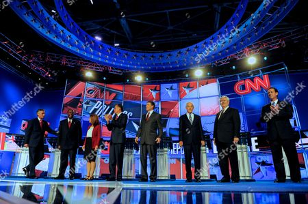 Republican Presidential Candidates (l-r) Jon Huntsman Jr Herman Cain Michele Bachmann Mitt Romney Rick Perry Ron Paul Newt Gingrich and Rick Santorum Are Introduced at the Start of the Cnn Tea Party Republican Debate in Tampa Florida Usa 12 September 2011 Eight Republican Presidential Candidates Participated in the Debate United States Tampa