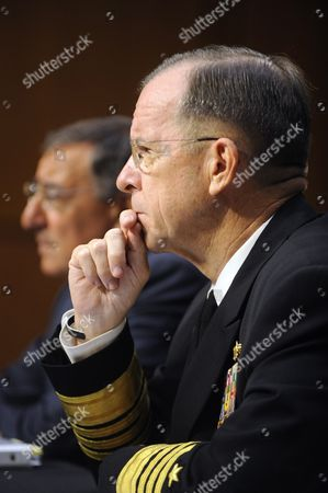 Us Chairman of the Joint Chiefs of Staff Admiral Michael Mullen (front) and Us Defense Secretary Leon Panetta (back) Appear Before the Senate Armed Services Committee Hearing on Us Strategy in Afghanistan and Iraq on Capitol Hill in Washington Dc Usa 22 September 2011 United States Washington