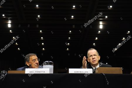 Us Defense Secretary Leon Panetta (l) Listens to Us Chairman of the Joint Chiefs of Staff Admiral Michael Mullen (r) Testify Before the Senate Armed Services Committee Hearing on Us Strategy in Afghanistan and Iraq on Capitol Hill in Washington Dc Usa 22 September 2011 Mullen Reportedly Accused Pakistan's Security Services the Inter-services Intelligence Agency (isi) of Supporting a Terrorist Group Which Allegedly Carried out Attacks on the Us Embassy in Kabul Afghanistan Last Week United States Washington