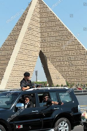 A Guards' Vehicle Leads the Motorcade of Turkish Prime Minister Recep Tayyip Erdogan (not Pictured) While Leaving From the Tomb of the Unknown Soldier in Cairo Egypt 13 September 2011 Erdogan Arrived in Egypt on 12 September to Hold a Series of Meetings That Will Chiefly Focus on Military and Diplomatic Ties Between the Two Countries He is Scheduled to Meet with the Head of the Ruling Military Council Field Marshal Mohamed Hussein Tantawi and His Egyptian Counterpart Essam Sharaf He Will Also Give Two Speeches the First to the Arab League Foreign Ministers Meeting and Another to a Group of Different Egyptian Political Figures Egypt Cairo