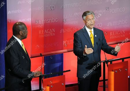 'Grand Old Party' (gop) Presidential Candidates Herman Cain (l) and Jon Huntsman Jr (r) Participate in the Reagan Centennial Gop Presidential Candidates Debate at the Reagan Library's Air Force One Pavilion in Simi Valley California Usa 07 September 2011 Eight Republican Presidential Candidates Participated in the Debate United States Simi Valley