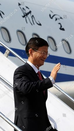 China's Public Security Minister Meng Jianzhu Waves Upon His Arrival at Chaklala Airbase in Rawalpindi Pakistan 26 September 2011 Meng Jianzhu Arrived in Islamabad on 26 September to Discuss Issues of Mutual Interest and Regional Security with the Pakistani Leadership Pakistan Rawalpindi