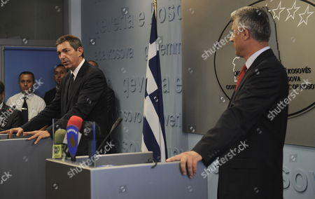 Greek Foreign Minister Stavros Lambrinidis (l) Speaks During a Joint News Conference with Kosovo's Prime Minister Hashim Thaci (r) in Pristina Kosovo on 08 September 2011 Lambrinidis is in Kosovo For a Visit During Which He Met For Talks with Kosovo's Prime Minister Hashim Thaci Serbia and Montenegro Pristina