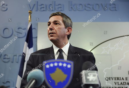 Greek Foreign Minister Stavros Lambrinidis Speaks During a News Conference in Pristina Kosovo on 08 September 2011 Lambrinidis is in Kosovo For a Visit During Which He Met with Kosovo's Prime Minister Hashim Thaci Serbia and Montenegro Pristina
