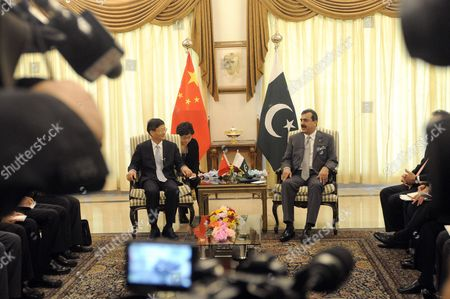 China's Vice Premier who is Also Public Security Minister Meng Jianzhu (l) Talks with Pakistan's Prime Minister Yusuf Raza Gilani (r) During Their Meeting in Islamabad Pakistan 27 September 2011 Meng Jianzhu Arrived in Islamabad on 26 September to Discuss Issues of Mutual Interest and Regional Security with Pakistani Leadership Pakistan Islamabad