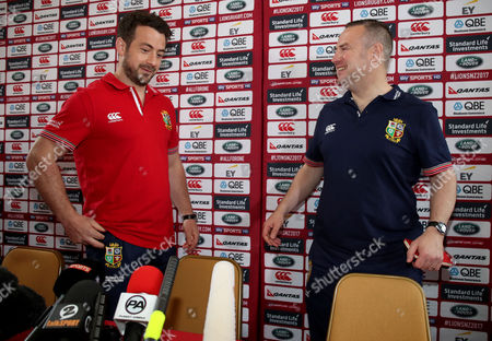 British and Irish Lions Player Administration Day, Syon House, London 8/5/2017. Greg Laidlaw and head of communications Dave Barton
