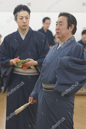 Actor Onoe Kikunosuke V (on left) and his father Onoe Kikugoro VII (on right) during rehearsals