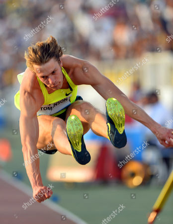 Stock Picture of Christopher Tomlinson of Britain in Action During the Mens Long Jump Competition at the Iaaf Diamond League Meeting in Doha Qatar 09 May 2014 Qatar Doha