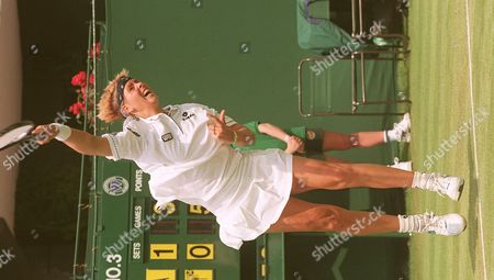 Dutch Brenda Schultz-mccarthy Shows Her Powerful Serve 24 June Against Italian Silvia Farina During Their First-rround Match at the Wimbledon Tennis Championships Schultz-mccarthy Won 4-6 6-3 6-2 United Kingdom Wimbledon