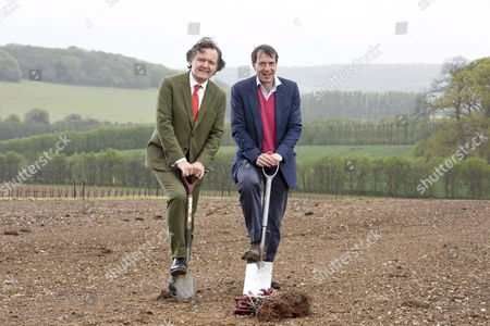 Pierre-Emmanuel Taittinger and Patrick McGrath planting the first vines this morning in Chilham, Kent