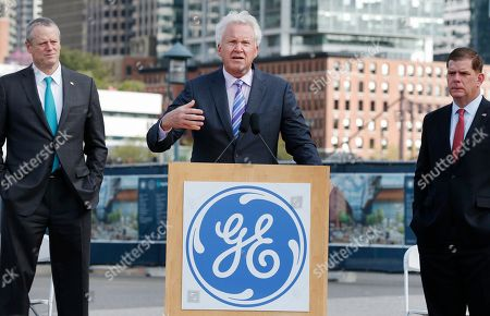 Jeffrey R Immelt, Charlie Baker, Marty Walsh General Electric CEO Jeffrey R Immelt speaks during a ground-breaking ceremony at the site of GE's new headquarters as Massachusetts Gov. Charlie Baker, left, and Boston Mayor Marty Walsh look, in Boston